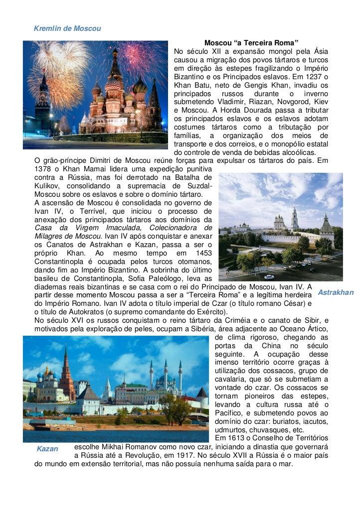 """Kremlin de Moscou                                                    Moscou """"a Terceira Roma""""                             ..."""