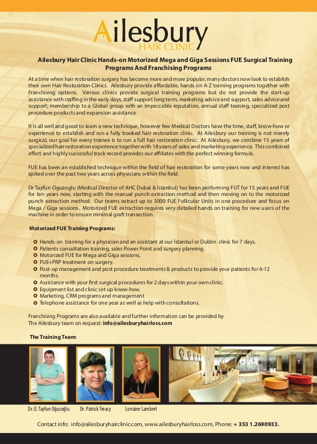 HAIR CLINIC     Ailesbury Hair Clinic Hands-on Motorized Mega and Giga Sessions FUE Surgical Training                     ...