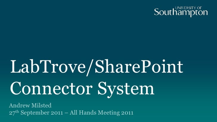 LabTrove/SharePoint Connector System <br />Andrew Milsted27th September 2011 – All Hands Meeting 2011<br />