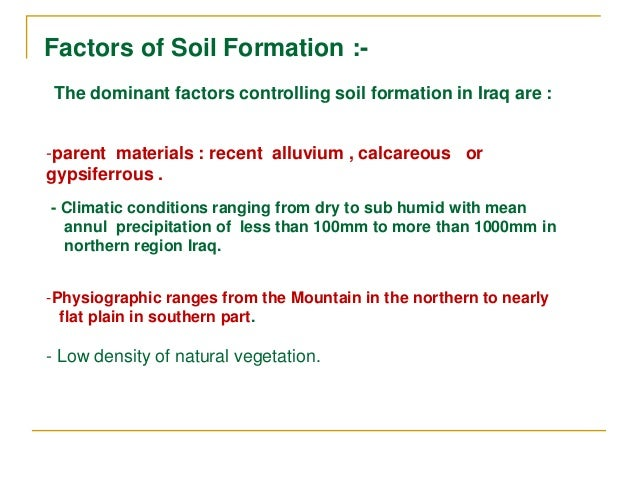 Status of soil information in iraq by ahmad s muhaimeed for Meaning of soil formation