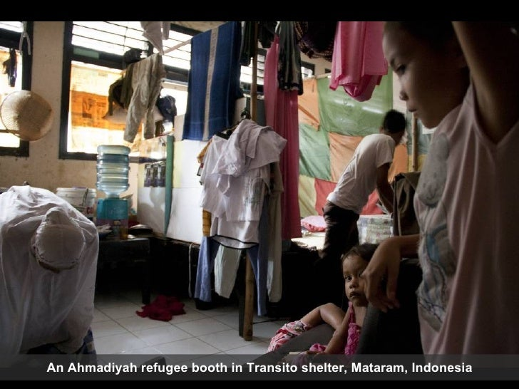 An Ahmadiyah refugee booth in Transito shelter, Mataram, Indonesia