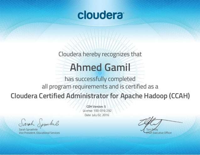 Cloudera Certified Hadoop Administrator Cca 500 Ahmed Gamil