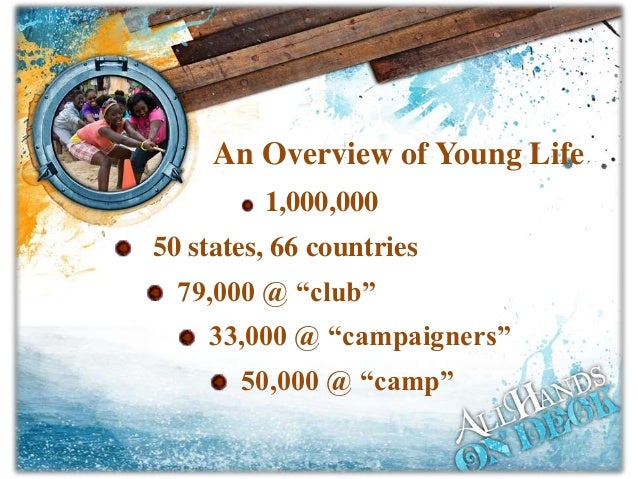 """1,000,000 50 states, 66 countries 79,000 @ """"club"""" 33,000 @ """"campaigners"""" 50,000 @ """"camp"""" An Overview of Young Life"""