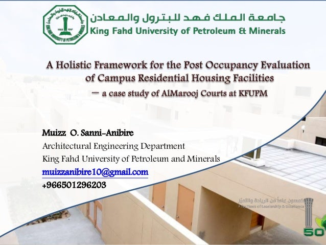 Muizz O. Sanni-Anibire Architectural Engineering Department King Fahd University of Petroleum and Minerals muizzanibire10@...