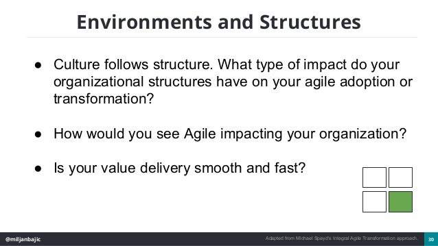 @miljanbajic 30 Environments and Structures ● Culture follows structure. What type of impact do your organizational struct...