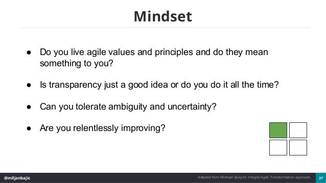 @miljanbajic 37 Mindset ● Do you live agile values and principles and do they mean something to you? ● Is transparency jus...