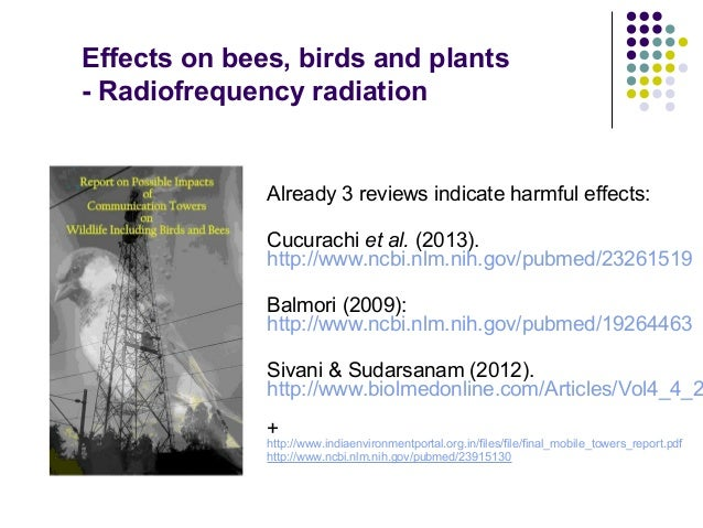 Effects on bees, birds and plants - Radiofrequency radiation Already 3 reviews indicate harmful effects: Cucurachi et al. ...