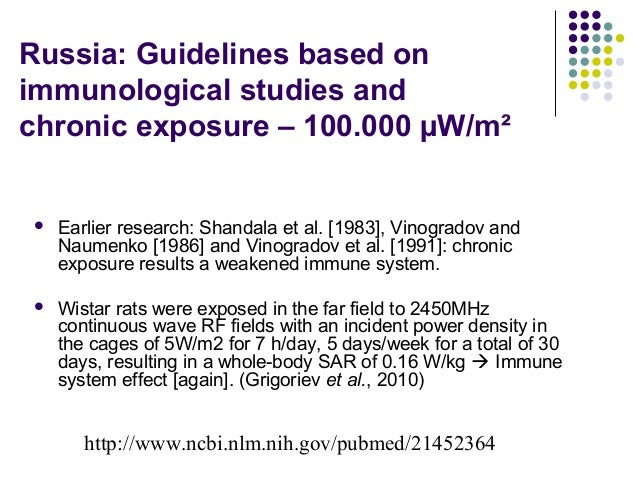 Russia: Guidelines based on immunological studies and chronic exposure – 100.000 µW/m²  Earlier research: Shandala et al....