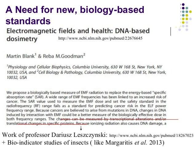 A Need for new, biology-based standards Work of professor Dariusz Leszczynski: http://www.ncbi.nlm.nih.gov/pubmed/18267023...