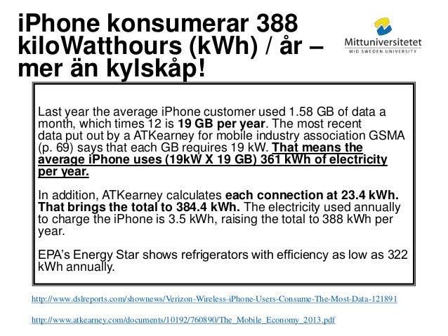 Mittuniversitetet iPhone konsumerar 388 kiloWatthours (kWh) / år – mer än kylskåp! Last year the average iPhone customer u...