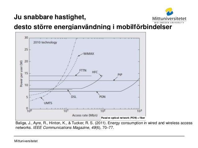 Mittuniversitetet Ju snabbare hastighet, desto större energianvändning i mobilförbindelser Baliga, J., Ayre, R., Hinton, K...
