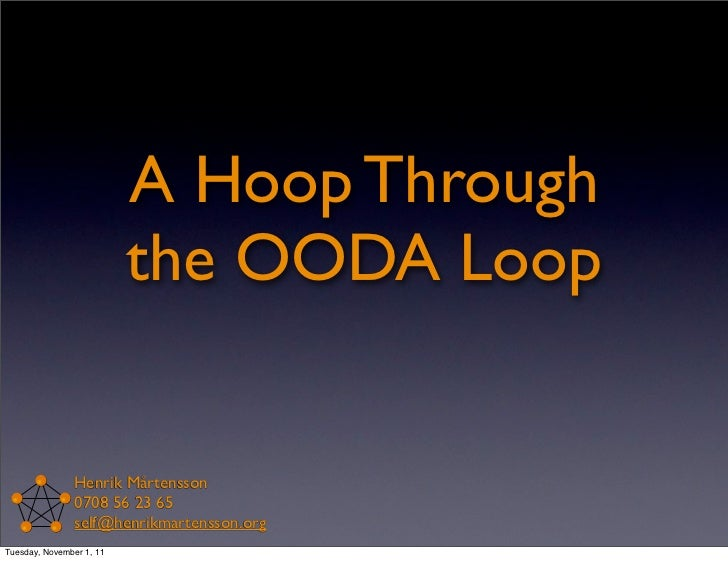 A Hoop Through                          the OODA Loop               Henrik Mårtensson               0708 56 23 65         ...