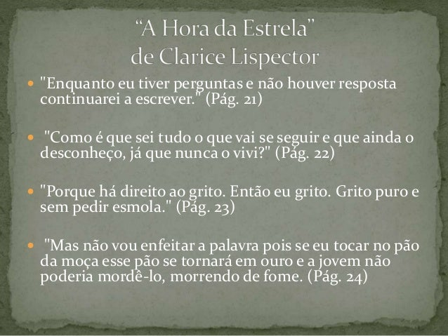 """Frases De Clarice Lispector: Frases Marcantes Do Livro """"A Hora Da Estrela"""" De Clarice"""