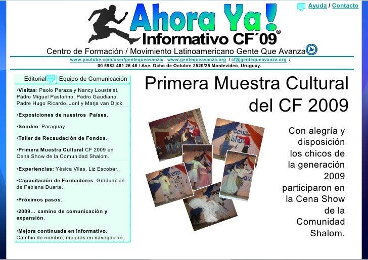 Ayuda / Contacto                Centro de Formación / Movimiento Latinoamericano Gente Que Avanza                      www...