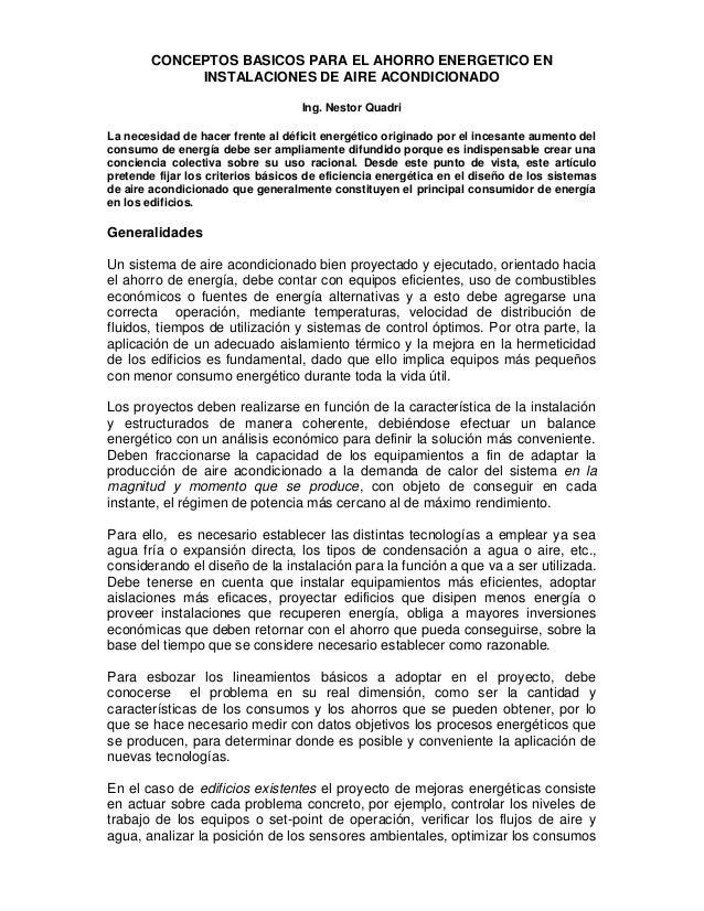 CONCEPTOS BASICOS PARA EL AHORRO ENERGETICO EN             INSTALACIONES DE AIRE ACONDICIONADO                            ...