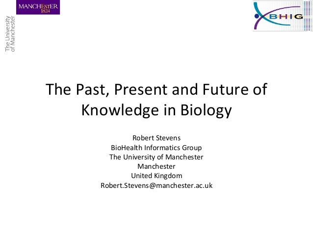 The Past, Present and Future of Knowledge in Biology Robert Stevens BioHealth Informatics Group The University of Manchest...