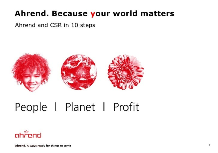 Ahrend. Because  y our world matters Ahrend and CSR in 10 steps
