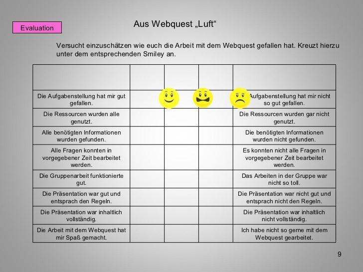 Evaluation Versucht einzuschätzen wie euch die Arbeit mit dem Webquest gefallen hat. Kreuzt hierzu unter dem entsprechende...