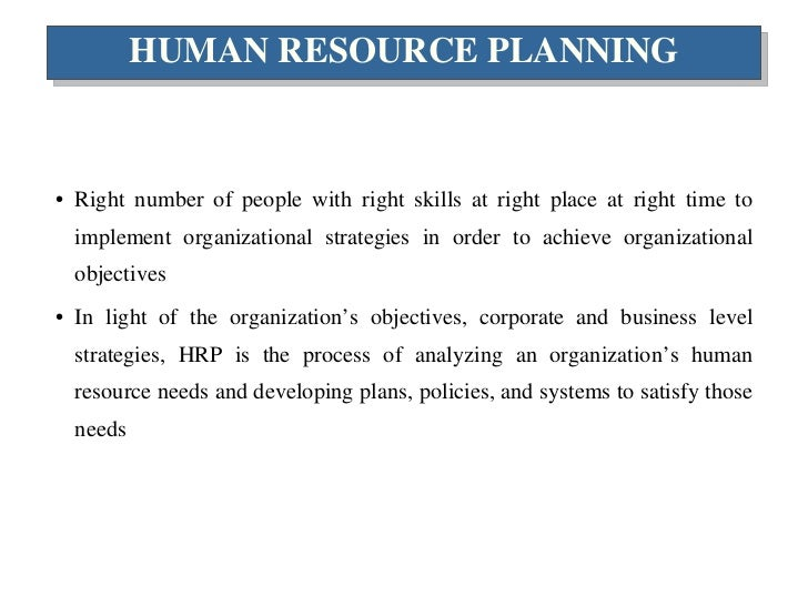 human resource planning human resource planning