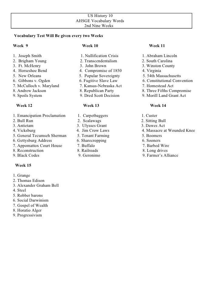 US History 10                               AHSGE Vocabulary Words                                  2nd Nine WeeksVocabula...