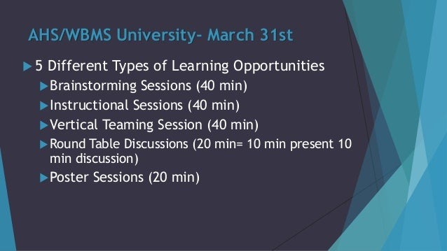 AHS/WBMS University- March 31st  5 Different Types of Learning Opportunities Brainstorming Sessions (40 min) Instructio...