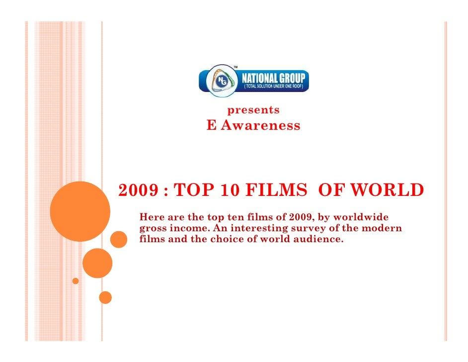 presents              E Awareness    2009 : TOP 10 FILMS OF WORLD  Here are the top ten films of 2009, by worldwide  gross...
