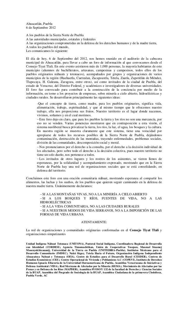 Ahuacatlán, Puebla6 de Septiembre 2012A los pueblos de la Sierra Norte de PueblaA las autoridades municipales, estatales y...