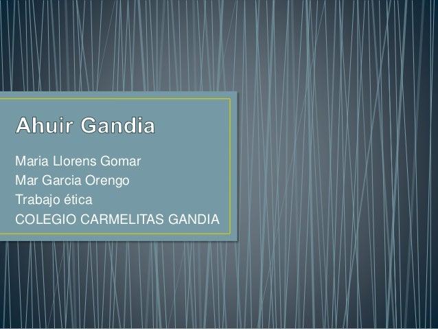 Maria Llorens Gomar Mar Garcia Orengo Trabajo ética COLEGIO CARMELITAS GANDIA