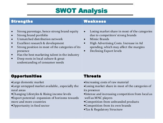 a common swot analysis of unilever and p g essay Check out our top free essays on swot of hindustan unilever ltd to help you write your own essay swot analysis of the indian fmcg industry background:.