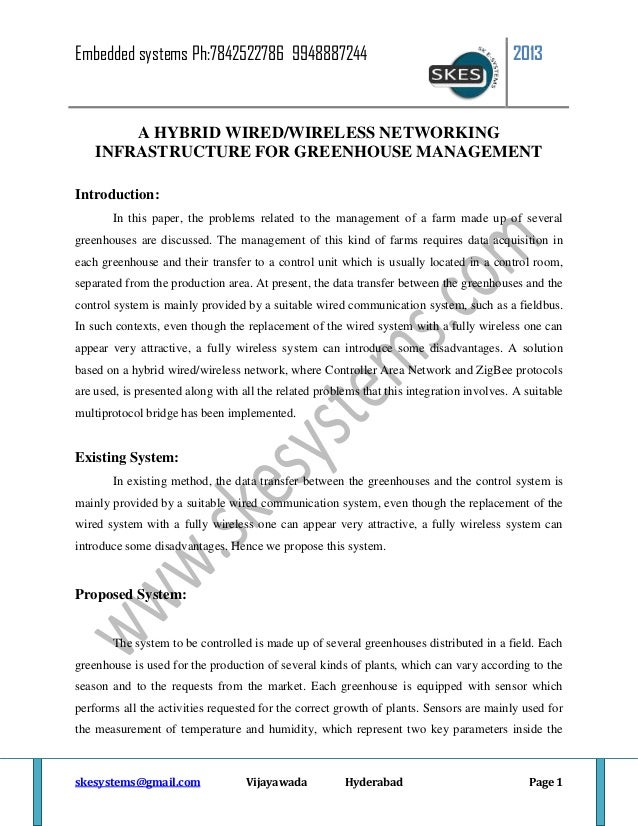 A hybrid wired wireless networking infrastructure for greenhouse mana…