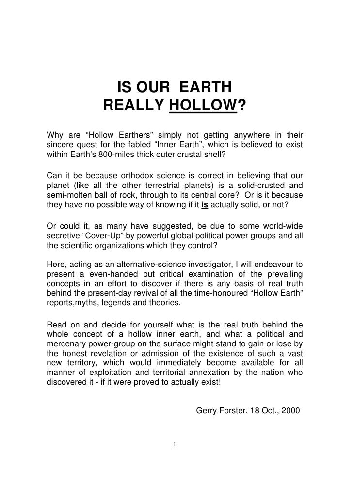 """IS OUR EARTH                REALLY HOLLOW? Why are """"Hollow Earthers"""" simply not getting anywhere in their sincere quest fo..."""