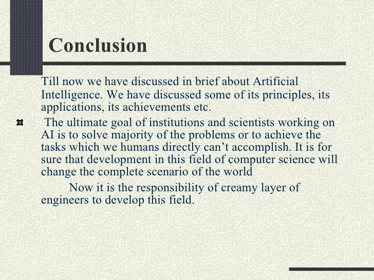 Conclusion artificial intelligence essay