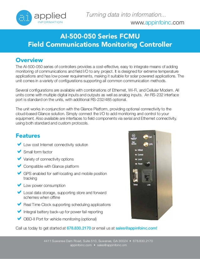 www.appinfoinc.com Turning data into information... Overview The AI-500-050 series of controllers provides a cost-effectiv...