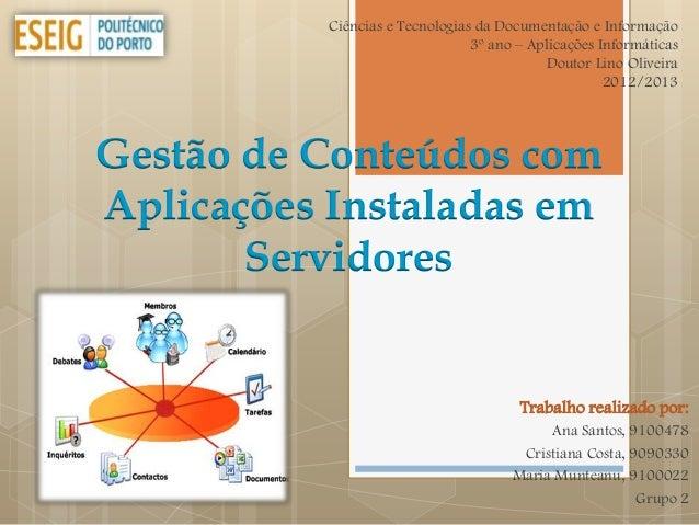 Ciências e Tecnologias da Documentação e Informação                                 3º ano – Aplicações Informáticas      ...