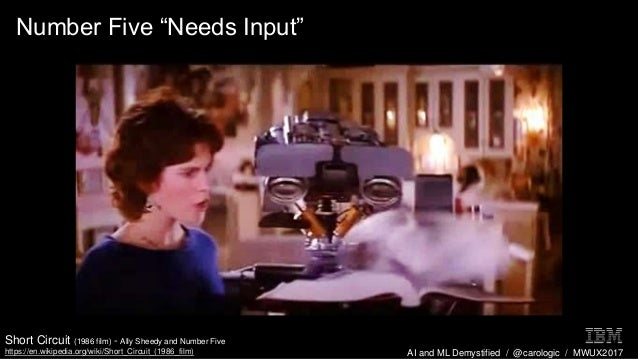 "AI and ML Demystified / @carologic / MWUX2017 Number Five ""Needs Input"" Short Circuit (1986 film) - Ally Sheedy and Number..."