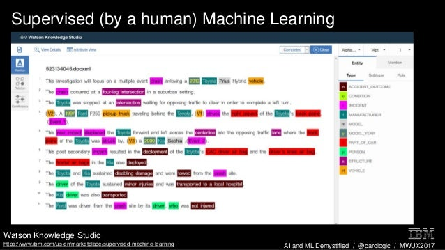 AI and ML Demystified / @carologic / MWUX2017 Supervised (by a human) Machine Learning Watson Knowledge Studio https://www...