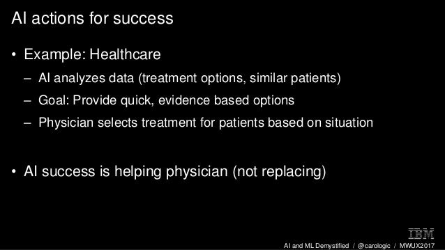 AI and ML Demystified / @carologic / MWUX2017 AI actions for success • Example: Healthcare – AI analyzes data (treatment o...