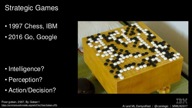 AI and ML Demystified / @carologic / MWUX2017 Strategic Games • 1997 Chess, IBM • 2016 Go, Google • Intelligence? • Percep...