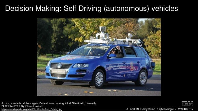 AI and ML Demystified / @carologic / MWUX2017 Decision Making: Self Driving (autonomous) vehicles Junior, a robotic Volksw...