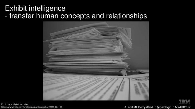 AI and ML Demystified / @carologic / MWUX2017 Exhibit intelligence - transfer human concepts and relationships Photo by su...