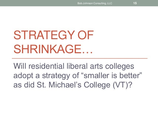 """STRATEGY OF SHRINKAGE… Will residential liberal arts colleges adopt a strategy of """"smaller is better"""" as did St. Michael's..."""