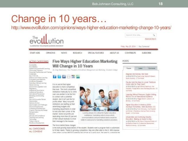 Change in 10 years… http://www.evolllution.com/opinions/ways-higher-education-marketing-change-10-years/ Bob Johnson Consu...