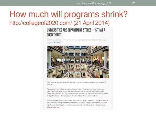 How much will programs shrink? http://collegeof2020.com/ (21 April 2014) Bob Johnson Consulting, LLC 22
