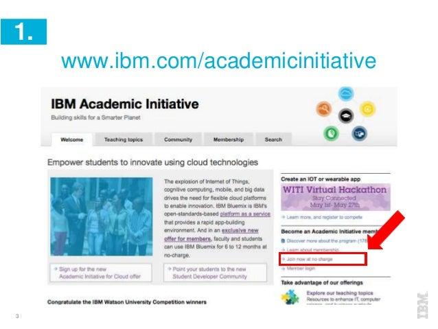 3 1. www.ibm.com/academicinitiative