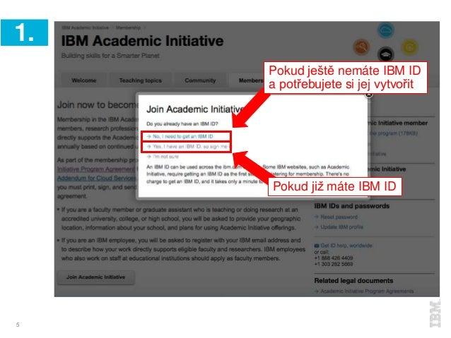 5 1. Pokud ještě nemáte IBM ID a potřebujete si jej vytvořit Pokud již máte IBM ID