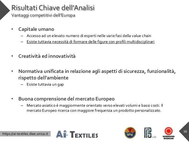 https://ai-textiles.diee.unica.it Risultati Chiave dell'Analisi Vantaggi competitivi dell'Europa • Capitale umano – Access...