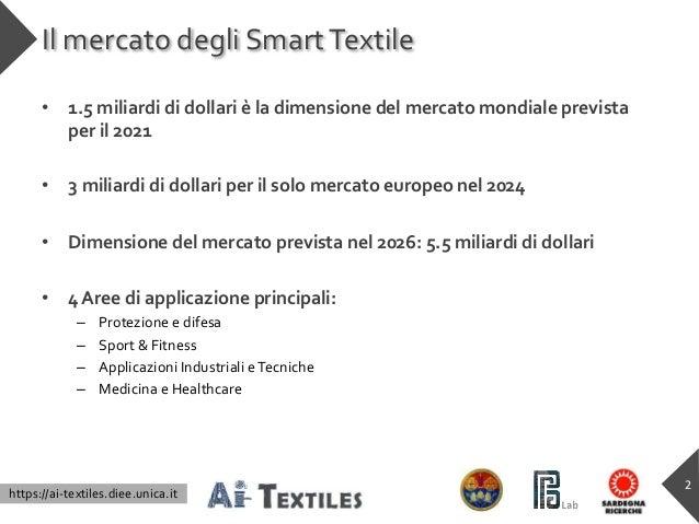 https://ai-textiles.diee.unica.it Il mercato degli SmartTextile • 1.5 miliardi di dollari è la dimensione del mercato mond...