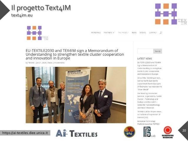 https://ai-textiles.diee.unica.it Il progettoText4IM text4im.eu 20