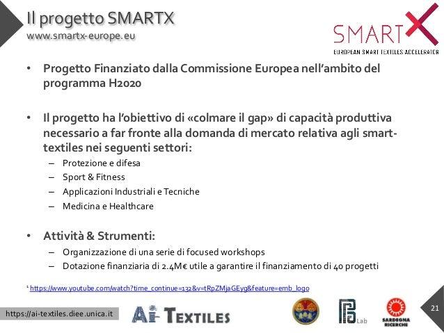 https://ai-textiles.diee.unica.it Il progetto SMARTX www.smartx-europe.eu • Progetto Finanziato dalla Commissione Europea ...
