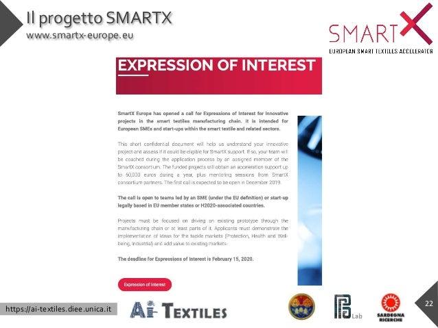https://ai-textiles.diee.unica.it Il progetto SMARTX www.smartx-europe.eu 22